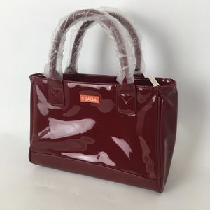 SACHI Cooler Lunch Bag Red Vegan Patent Leather